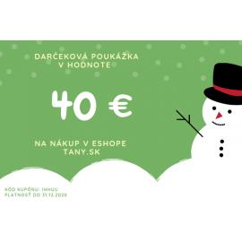 Vianočná darčeková poukážka v hodnote 40€