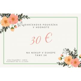 Darčeková poukážka v hodnote 30€